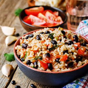 Spicy Cajun Black Beans and Rice with Sausage