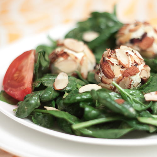 Spinach Salad with Lemon Herb Goat Cheese