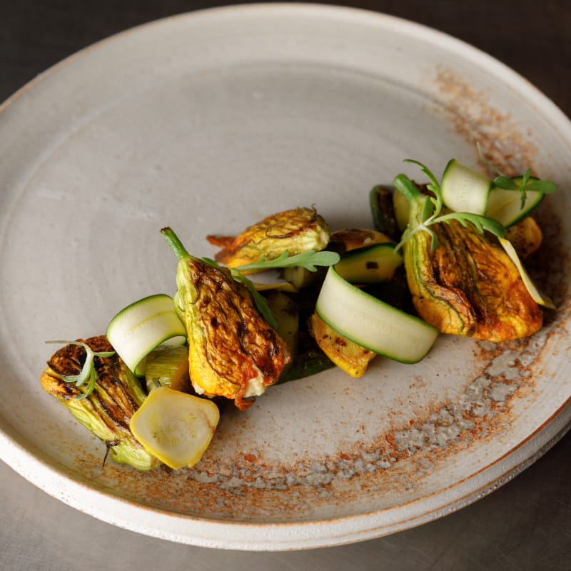 Squash Blossoms with Lemon Pepper Scented Ricotta & Charred Cucumber Squash Condiment