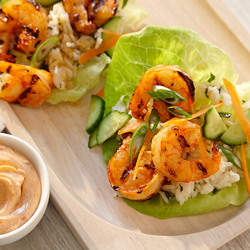 Sriracha Lime Shrimp Lettuce Wraps