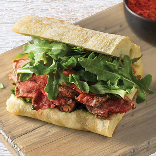Sriracha and Lime Flank Steak Garlic Bread Sandwiches