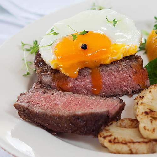 Steak and Eggs with Potato Rosti and Asian Steak Sauce
