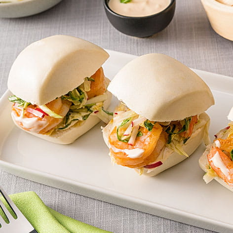 Steamed soft buns with Sweet Chili and Shrimp