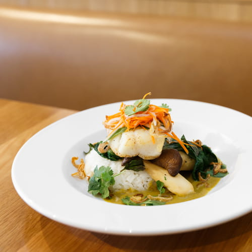 Lingcod with Bok Choy, King Oyster Mushroom in a Spicy Green Coconut Curry Sauce