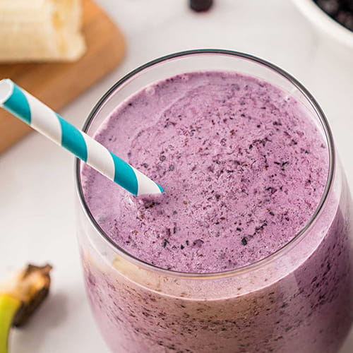 Coconut Milk Honey Smoothie with Blueberry and Banana