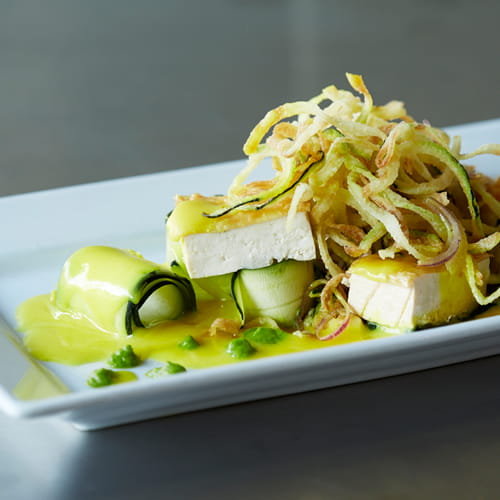 Tofu with Turmeric Beurre Blanc & Zucchini Ribbons