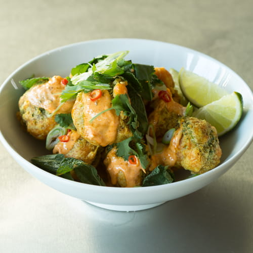 Turmeric Fried Broccoli with Red Curry Sauce