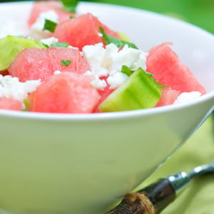Watermelon Feta Salad with Honey Mint Dressing