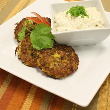 Zucchini Pancakes with Greek Dip